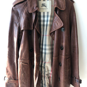 Authentic Distressed Leather Burberry Trench Coat